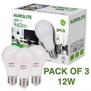 PACK DE 3 ampoules LED AUROLITE 12W, A60 12W E27 Day Light 6500K AMPOULES LED, Paquet de 3, LED ES Globe Edison Screw Bulb, Ultra Bright 960LM, ampoule à incandescence de 75 watts équivalente de la marque AUROLITE image 0 produit