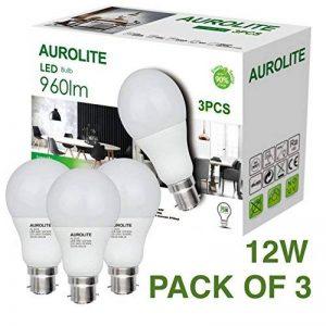 PACK DE 3 ampoules LED AUROLITE 12W, A60 B22 Blanc chaud 3000K LAMPOULES LED, ampoule à baïonnette LED, 960LM ultra brillant, ampoule à incandescence de 75 watts équivalente de la marque AUROLITE image 0 produit