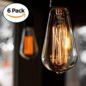 Pack de 6 ampoules Edison, Ampoule ancienne de style vintage, Ambre chaude, Dimmable (60w/220v) de la marque Basics Hardware image 0 produit