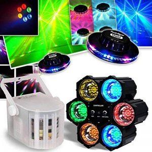 PACK DERBY DJ blanc à LEDs RGBW 4x3W DMX + Chenillard LED + 2 Effets UFO OVNI de la marque Flash image 0 produit