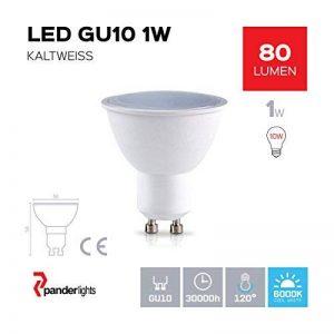 Pack Lot de 4GU10Ampoule LED 1W 80LM (remplace env. 10W) Blanc froid–Ampoule LED SMD–Angle d'éclairage 120° de la marque PanderLights image 0 produit