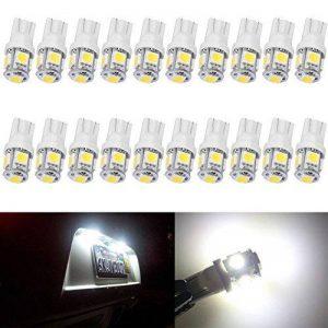 Paquet de 20 T10 W5W 194 168 5-SMD 5050 Voiture Lampe, 24V Lampes D'intérieur, Feu De Stationnement, Voiture Lampes De Lecture De Plaques, D'immatriculation Lumières Lampes Remplacement (Blanc) de la marque AMAZENAR image 0 produit