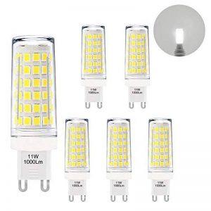 Petite Lampes Ampoules Mais a LED Culot G9 GU9 la Plus Brillante 11W 1000Lm Blanc Froid 6000K AC220-240V Plus Brillant que Ampoule Halogene 60W Lot de 6 de Enuotek de la marque ENUOTEK image 0 produit