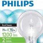 Philips Ampoule EcoHalogène Globe Culot E27 70 Watts consommés Equivalence incandescence : 92W de la marque Philips Lighting image 1 produit