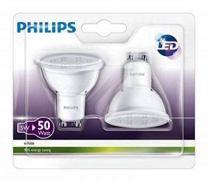 Philips Ampoule LED Spot Culot GU10, 4.5W équivalent 50W, Blanc Neutre 3000K, Finition Plastique de la marque Philips Lighting image 0 produit