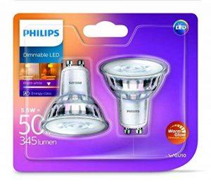 Philips en verre classique warmglow 5,5W LED GU10Dimmable Spot Light, Blanc chaud, de rechange pour 50W Spot halogène)–Pack de 2, en verre, GU10, 5. Watts, Lot de 2 de la marque Philips image 0 produit