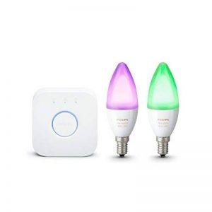 Philips Hue Kit de démarrage 2 ampoules White & Color E14 + pont de connexion - Fonctionne avec Alexa de la marque Philips-Lighting image 0 produit