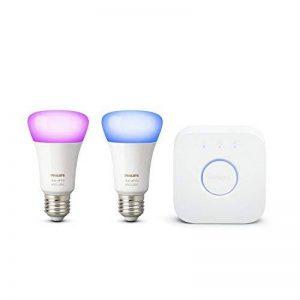 Philips Hue Kit de démarrage 2 ampoules White & Color E27 + pont de connexion - Fonctionne avec Alexa de la marque Philips Lighting image 0 produit