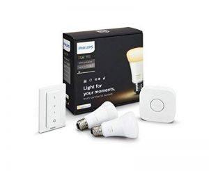 Philips Hue Kit de Démarrage - Lumière blanche à intensité et nuances de blancs variables (chaud ou froid) avec 2 X E27 9,5 W [Pont et Interrupteur avec Variateur Inclus] - Fonctionne avec Alexa de la marque Philips Lighting image 0 produit