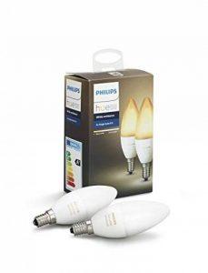 Philips Hue Pack de 2 ampoules connectées White Ambiance flamme E14 - Fonctionne avec Alexa de la marque Philips Lighting image 0 produit