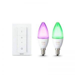 Philips Hue Pack de 2 ampoules connectées White & Color flamme E14 + Hue Dim Switch Télécommande nomade variateur de lumière - Fonctionne avec Alexa de la marque Philips-Lighting image 0 produit