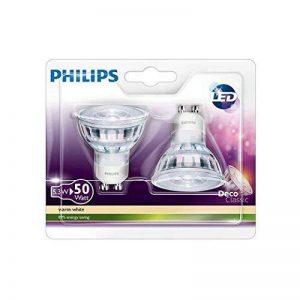 Philips Lot de 2 Ampoules LED Culot GU10, Équivalent 50 W, Blanc Chaud 2700K de la marque Philips image 0 produit