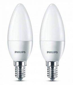 Philips Lot de 2 Ampoules LED Flamme Culot E14, 5,5W équivalent 40W, Blanc Chaud 2700K, Dépolie de la marque Philips Lighting image 0 produit