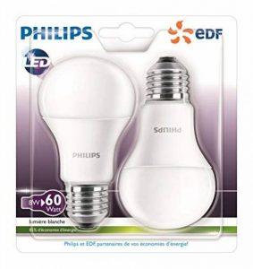 Philips Lot de 2 Ampoules LED Standard Culot E27, 8W équivalent 60W, Blanc Chaud 2700K, Dépolie, Partenariat Philips/EDF de la marque Philips Lighting image 0 produit