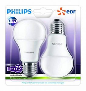 Philips Lot de 2 Ampoules LED Standard Culot E27 (Grosse Vis) 11W Consommés Équivalent 75W de la marque Philips Lighting image 0 produit