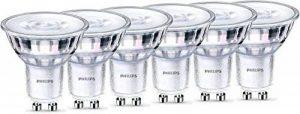 Philips Lot de 6 Ampoules LED Culot GU10, 5,5W Équivalent 50 W, Blanc Chaud 2700K, Finition Verre de la marque Philips image 0 produit