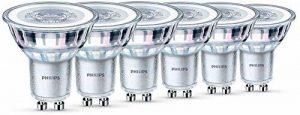 Philips Lot de 6 Ampoules LED Spot Culot GU10, 4,6W équivalent 50W, Blanc Chaud 2700K, Finition Verre de la marque Philips Lighting image 0 produit