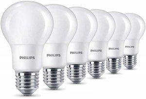 Philips Lot de 6 Ampoules LED Standard Culot E27, 8W équivalent 60W, Blanc Chaud 2700K, Dépolie de la marque Philips image 0 produit