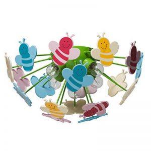 Plafonnier Enfant Original Design Moderne en Métal Vert et Acrylique Multicolore avec Abeilles pour Chambre d'Enfant Fille ou Garçon 5x40W E14 de la marque MW-Light image 0 produit