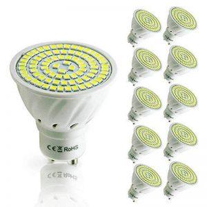 Pocketman 10X GU10 5W Ampoules LED Lampe Bulb 80 LED 3528 SMD LED Spot Ampoule Lampe 450LM Super Lumineux, Blanc Froid (6000K),AC 220V,120 °Angle de Faisceau de la marque POCKETMAN image 0 produit