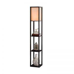 QIANGUANG® Lampadaire en bois de 1,6 m avec étagères pour chambre et salon (sans ampoule) (Black) de la marque QIANGUANG image 0 produit