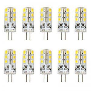 Ralbay 10 Pièce 2.5W Ampoules LED G4, 170lm, Blanc Chaud(3000K), 20 Watt Équivalence Halogènes, 24 Pièces 2835 SMD LED Silice Eclairage Décoratif, DC 12V de la marque Ralbay image 0 produit