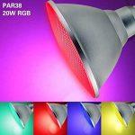 RAYWAY 20W PAR38 RGB Ampoule à LED, couvercle en verre E27 LED Lampe magique, projecteur en couleur avec télécommande 24 touches pour fête d'accueil, décoration de Noël de la marque RAYWAY image 4 produit