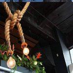 Retro Lampe Chanvre Suspension Corde 200cm (100CM+100CM) AC 220 V 2 x Culot E27 (sans ampoule) pour le salon bar décor espaces publics Rustic Corde chanvre plafond Lustre (2M) de la marque Maxsal image 4 produit