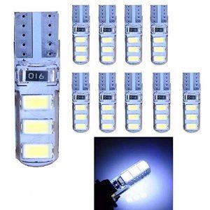Ruecious Lot de 10ampoules LED blanches 501 W5 W T10 6-SMD 5630, LED 168 194 2825 haute puissance pour intérieur de voiture, plaque d'immatriculation, ampoules de coffre de la marque Ruesious image 0 produit