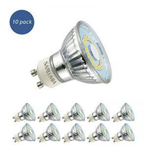 Sanlumia | 5W LED Spot Culot GU10 | 450LM | équivaut 50W halogène | Blanc Naturel 4000K | 120° Larges Angle de Faisceau | LED Light Lampe | Finition Verre | Lot de 10 Ampoules de la marque Sanlumia image 0 produit