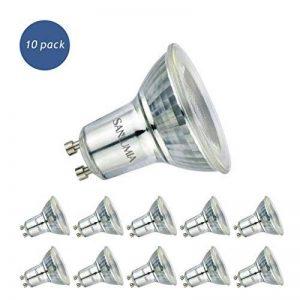 Sanlumia | 6W LED Spot Culot GU10 | 500LM | équivaut 75W halogène | Blanc Froid 6400K | LED Light Lampe | Finition Verre | Lot de 10 Ampoules de la marque Sanlumia image 0 produit