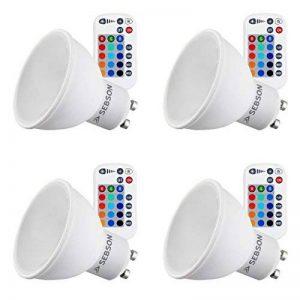 SEBSON® 4x LED GU10 Couleur, 15 RGB + blanc chaud 2700K, telecommande, GU10 Ampoule de la marque sebson image 0 produit