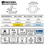 SECEIEL-LED Ronde Extra Plate 18W Downlight LED [Classe énergétique A] (Blanc Froid 6000k-6500k, pack 2-18W) de la marque SECEIEL image 2 produit