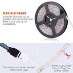 SENDIS Ruban LED Etanche 5M 3528 RGB Multicolore SMD 300 LED Bande Flexible Lumineux Strip Light + Télécommande à infrarouge 24 touches + Alimentation 2A 12V de la marque SENDIS image 4 produit