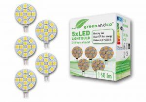 Set de 5 Ampoules à LED greenandco® G4/2,4W/150lm/3000K (blanc chaud)/12 x 5050 SMD LED/Angle de diffusion 120°/12V DC de la marque greenandco image 0 produit