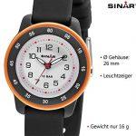Sinar Enfant Montre/jugenduhr Junge Ampoule, 10bar, bracelet en silicone Montre à quartz analogique, noir/orange XB Lot de 22–1 de la marque SINAR image 3 produit