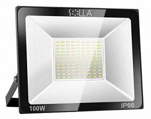 SOLLA Projecteur LED 100W, IP66 Imperméable, 8000LM, Eclairage Extérieur LED, Equivalent à Ampoule Halogène 550W, 6000K Lumière Blanche du Jour, Eclairage de Sécurité de la marque SOLLA image 0 produit