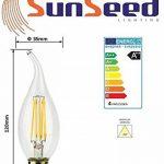 SunSeed, Garantie de deux ans, 10 X E14 4W Ampoule Flamme Coup de Vent à Filament LED en Saphir BT35 AC22-240V Blanc Chaud 2700K 400 Lumens 300° Alimentation à commutation de la marque Sun Seed image 3 produit