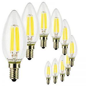 SunSeed, Garantie de deux ans, 10 X E14 4W Ampoule Flamme à Filament LED en Saphir C35 AC22-240V Blanc Naturel 4000K 450 Lumens 300° Alimentation à commutation de la marque Sun Seed image 0 produit