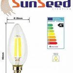 SunSeed, Garantie de deux ans, 10 X E14 4W Ampoule Flamme à Filament LED en Saphir C35 AC22-240V Blanc Naturel 4000K 450 Lumens 300° Alimentation à commutation de la marque Sun Seed image 3 produit