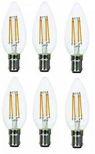 Supacell Lot de 6 ampoules Bougie LED à filament–B15 / SBC / petite baïonnette–4W–blanc chaud 2700K/470lumens / finition verre classique / durée de vie moyenne 30000heures / non graduables / Réf: SLCCSBC4FX6 de la marque Multibrands image 0 produit