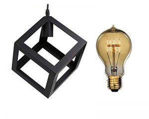 Suspension Simple Industrial DIY métal Noir Lignes Droites + Ampoule Filament Edison Incluse - Moderniste industriel Plafonnier Lampe Lustre de la marque AZX image 0 produit