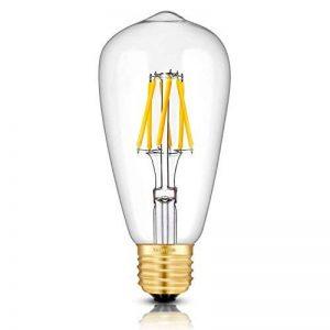 TAMAYKIM ST64 6W Dimmable Antique Edison Style Ampoule Filament LED - 2700K Blanc Chaud 600lm - 6 Watts Consommés - Équivalent 60W - Culot E27 - Angle de Faisceau 360° de la marque TAMAYKIM image 0 produit