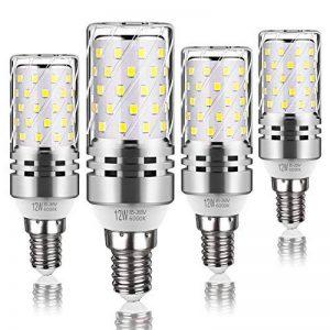Tebio 12 W LED Maïs ampoules, E14, 100W Ampoule à incandescence équivalent, 6000K Blanc Froid, 1200LM, Cri>80 +, Petit culot à vis, non dimmable, Chandelier ampoules LED(4 PCS) de la marque Tebio image 0 produit