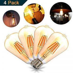 THINKMORE Ampoules LED E27 Filament Vintage ST64 Blanc Chaud 2300K 220 VAC 8W Équivalent 60W Ampoule à Incandescence Décoration & Lampes d'atmosphère Doré Lot de 4 de la marque THINKMORE image 0 produit