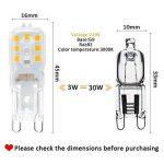 TINS Ampoule LED G9, Ampoule LED G9 3W, Blanc Chaud, Lampe Sans économie d'énergie Flicker, Ampoule LED Non Réglable G9, Peut Remplacer Ampoule Halogène G9 30W, 220LM, 3000K, 14 x 2835SMD, 220-240V, Angle de 360 °, IRC> 75, G9 Ampoule LED, 6 Paquets de la image 2 produit