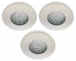 Trango Lot de 3dimmbare IP44spot blanc tg6729ip-036–6D Bain/Douche/Sauna + 3x GU106W Ampoule LED 3000K W Intensité variable de laqué blanc & Culot Leuchten encastrable en acier inoxydable inoxydable de la marque Trango image 0 produit