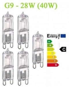 Trango Lot de 5 ampoules halogènesG9230V, ampoules à économie d'énergie 28W (équivalent 40W) à intensité variable, classe d'efficacité énergétique: C de la marque Trango image 0 produit