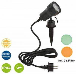 Trango Spot Projecteur extérieur 1-2 feux jardin étang + LED 3W GU10& câble de 3m & piquet, noir, GU10 3.00 wattsW 230.00 voltsV de la marque Trango image 0 produit