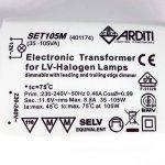 Transformateur électronique 35-105 W / 12 V / 240 V encastrable transformateur pour lampes halogènes NV et lampes de la marque Arditi Lighting Components image 1 produit